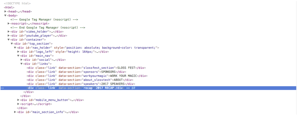 inspect element to find the CSS selectors