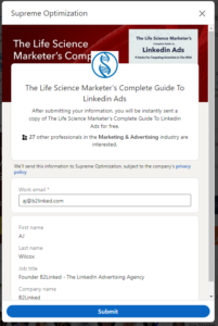 eric southwell linkedin ads contest winning ad lead gen form